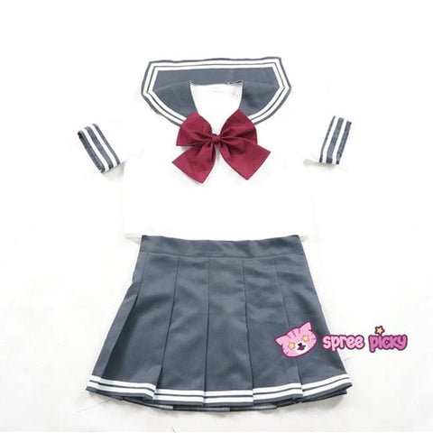 Daily Cosplay Sailor Moon Sailor Pluto Setsuna Meiou Sailor Seifuku Grey Uniform Top/Skirt/Bow SP151751/2 - SpreePicky  - 2