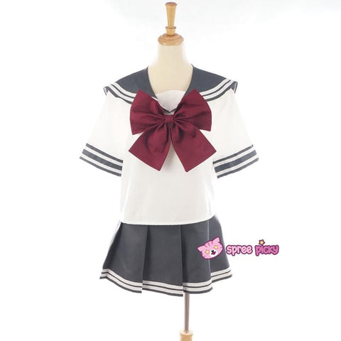 Daily Cosplay Sailor Moon Sailor Pluto Setsuna Meiou Sailor Seifuku Grey Uniform Top/Skirt/Bow SP151751/2 - SpreePicky  - 3