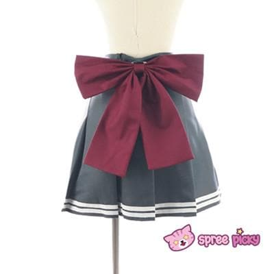 Daily Cosplay Sailor Moon Sailor Pluto Setsuna Meiou Sailor Seifuku Grey Uniform Top/Skirt/Bow SP151751/2 - SpreePicky  - 7