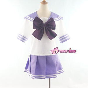 Daily Cosplay [Sailor Moon] Sailor Saturn Tomoe Hotaru Light Purple Seifku Top/Skirt/Bow SP151871/SP151872 - SpreePicky  - 1