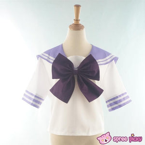 Daily Cosplay [Sailor Moon] Sailor Saturn Tomoe Hotaru Light Purple Seifku Top/Skirt/Bow SP151871/SP151872 - SpreePicky  - 5