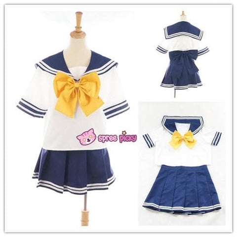 Daily Cosplay Sailor Moon Sailor Uranus Tenoh Haruka Sailor Seifuku Uniform Top/Skirt/Bow SP151747/8 - SpreePicky  - 1