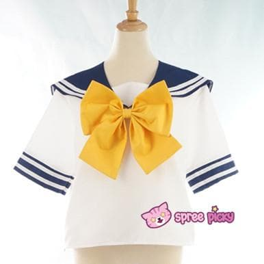 Daily Cosplay Sailor Moon Sailor Uranus Tenoh Haruka Sailor Seifuku Uniform Top/Skirt/Bow SP151747/8 - SpreePicky  - 5