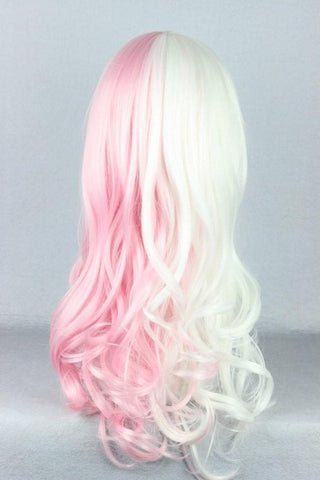 Danganronpa Monomi Pink/White Long Curly Cosplay Wig SP141174 - SpreePicky  - 4