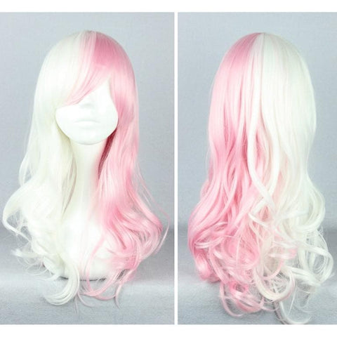 Danganronpa Monomi Pink/White Long Curly Cosplay Wig SP141174 - SpreePicky  - 1