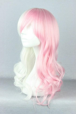 Danganronpa Monomi Pink/White Long Curly Cosplay Wig SP141174 - SpreePicky  - 3