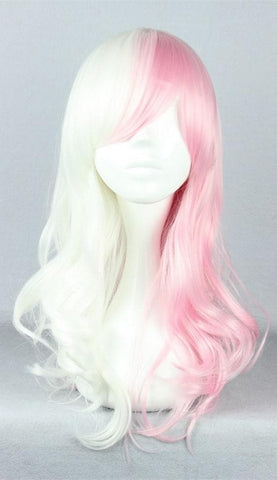 Danganronpa Monomi Pink/White Long Curly Cosplay Wig SP141174 - SpreePicky  - 2