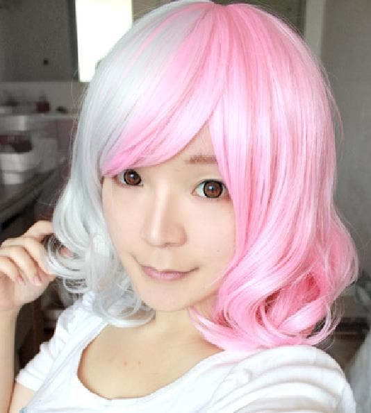 Danganronpa Monomi Pink/White Short Curly Cosplay Wig SP141181 - SpreePicky  - 1