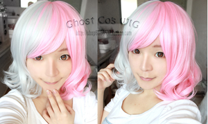 Danganronpa Monomi Pink/White Short Curly Cosplay Wig SP141181 - SpreePicky  - 2