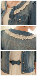 Dark Blue/Light Blue Denim With Lace Collar and Bubble Sleeves Jacket Coat SP141369 - SpreePicky  - 6