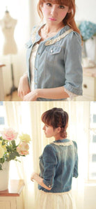 Dark Blue/Light Blue Denim With Lace Collar and Bubble Sleeves Jacket Coat SP141369 - SpreePicky  - 4