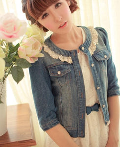 Dark Blue/Light Blue Denim With Lace Collar and Bubble Sleeves Jacket Coat SP141369 - SpreePicky  - 3