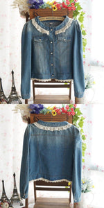 Dark Blue/Light Blue Denim With Lace Collar and Bubble Sleeves Jacket Coat SP141369 - SpreePicky  - 5