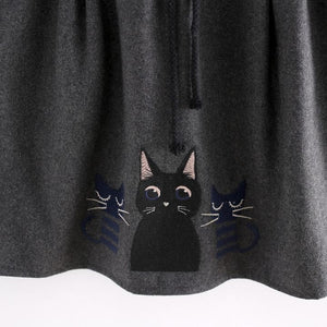 Dark Grey Kawaii Kitten Elastic Waist Skirt SP154035 - SpreePicky  - 5