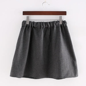 Dark Grey Kawaii Kitten Elastic Waist Skirt SP154035 - SpreePicky  - 3