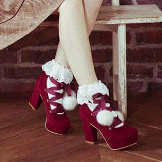 Dark Red/Pink/Beige Sweet Lady High Heel Shoes SP168556