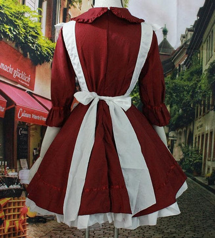 Dark Red Lolita Maid Dress  SP141207 - SpreePicky  - 4