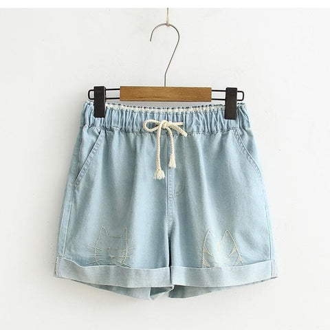 Deep Blue/Light Blue Kawaii High Waisted Kitty Shorts SP1710295