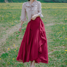 Load image into Gallery viewer, Elegant Bowknot Apricot Shirt / Red Skirt Set SP178990