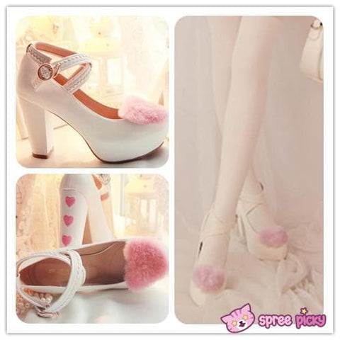 Lolita Hearts Embroidered White Heels with Sweet Pink Fur Platform Shoes SP151691 - SpreePicky  - 1