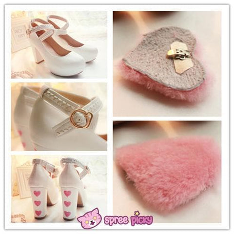 Lolita Hearts Embroidered White Heels with Sweet Pink Fur Platform Shoes SP151691 - SpreePicky  - 6
