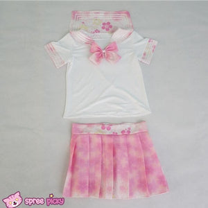 [S-XL]J-Fashion Pink Sakura Sailor Seifuku Top and Skirt Set SP151631 - SpreePicky  - 3