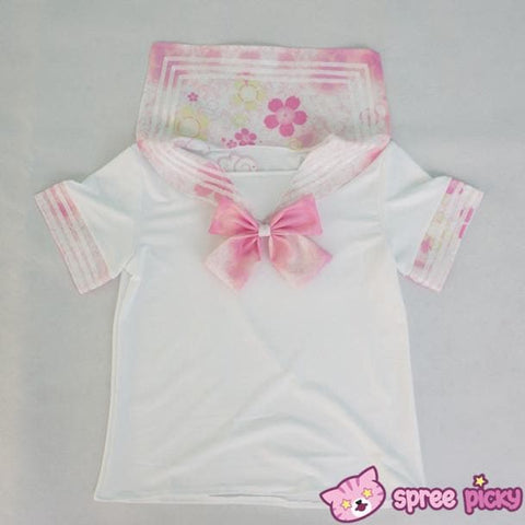[S-XL]J-Fashion Pink Sakura Sailor Seifuku Top and Skirt Set SP151631 - SpreePicky  - 4