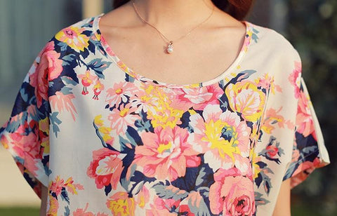 M/L Floral Round Collar Loose Chiffon Shirt SP152624 - SpreePicky  - 2