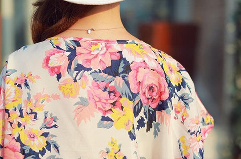 M/L Floral Round Collar Loose Chiffon Shirt SP152624 - SpreePicky  - 4