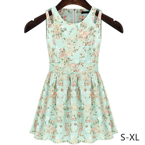 S-XL Fresh Green Summer Sleeveless Dress SP152444 - SpreePicky  - 1