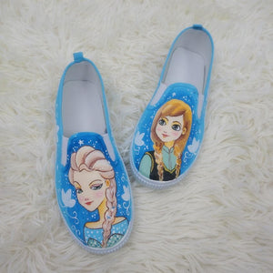 [Frozen]Hand Made Painting Frozen Queen Elsa and Princess Anna Canvas Flats Shoes SP140834 - SpreePicky  - 2