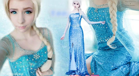 [Frozen] Queen Elsa Handmade Cosplay Long Gown SP140594 - SpreePicky  - 2