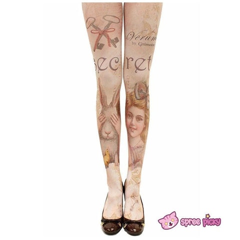 Girl and Rabbit Tattoo Tights  SP130041