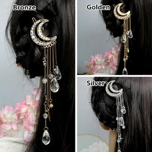 Golden/Bronze/Silver Retro Moon Tassels Hair Clip SP168535
