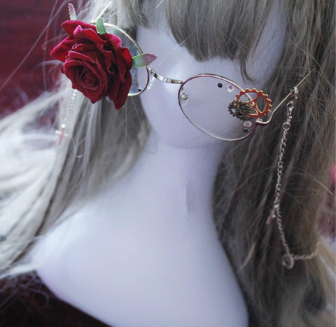 Golden/Silver Lolita Gothic Rose Metal Glasses with Cross Chain SP165743