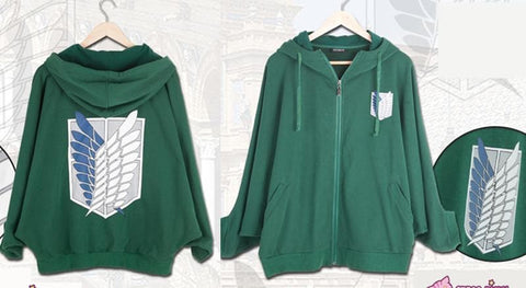 Good Quality Attack on Titan Batwing Zip Up Hoodie Sweater SP130051 - SpreePicky  - 3