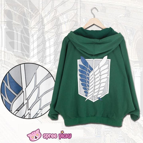 Good Quality Attack on Titan Batwing Zip Up Hoodie Sweater SP130051 - SpreePicky  - 1