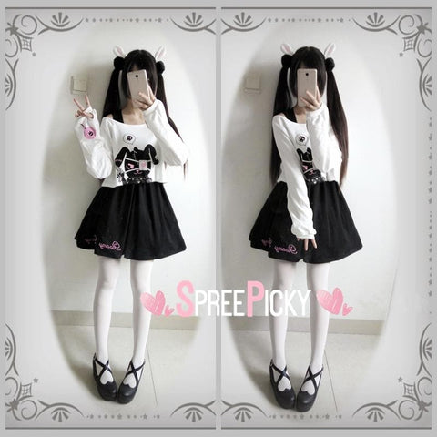Goth Lolita Kuro-Bunny Long Sleeve Top/Dress/Set SP179076