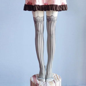 Gothic Punk Lolita Garter Striped Tights Socks SP178849