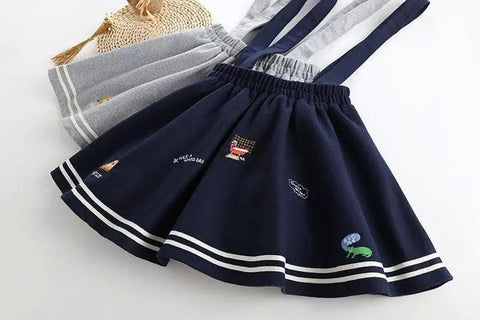 Gray/Navy Blue Kawaii Suspenders Skirt SP165498