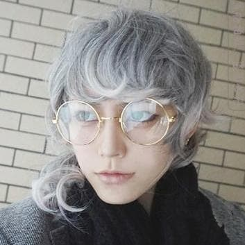 Gray Mix Pink Cosplay Curly Hair Wig SP166846