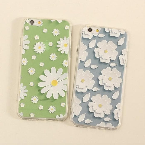 Green/Blue Floral Pattern Silica Gel Phone Case SP166293