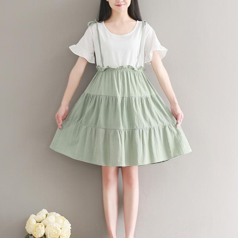 Green/Blue Fresh Preppy Style Layered Dress SP1710312