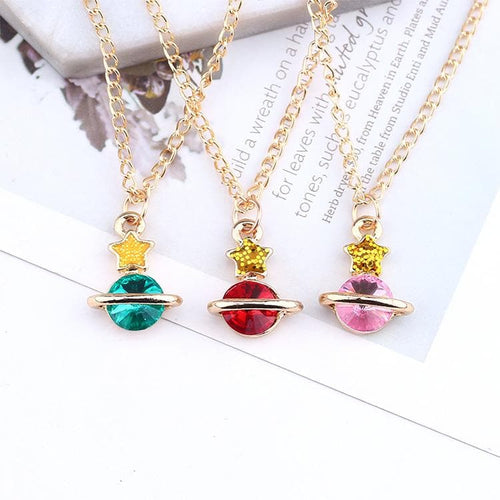 Green/Red/Pink Sweet Star Space Necklace SP1812324