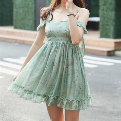Green Floral Off-Shoulder Bubble Dress SP179716