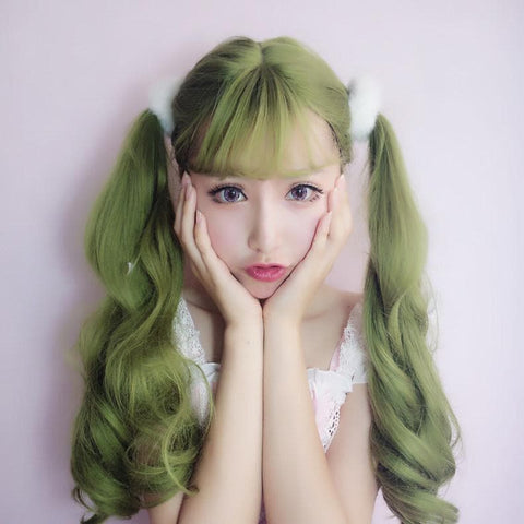 Green Harajuku Lolita Long Curl Wig  SP1710353