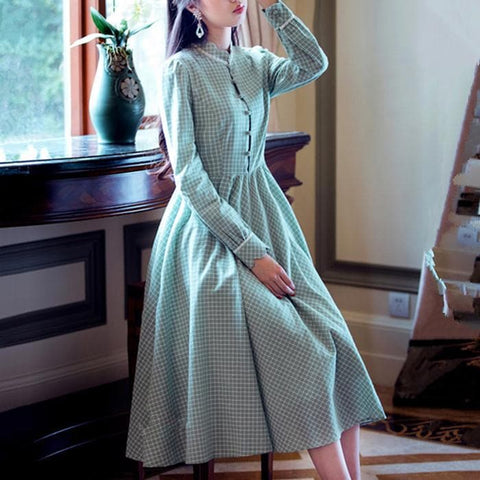 Green Vintage Collar Plaid Dress SP179022