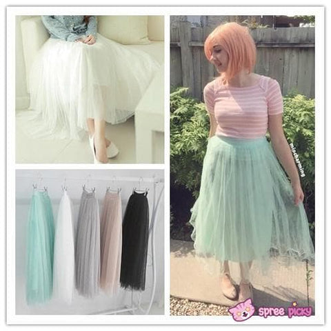 5 colors Grenadine High-Waited Long TUTU Skirt  SP140518