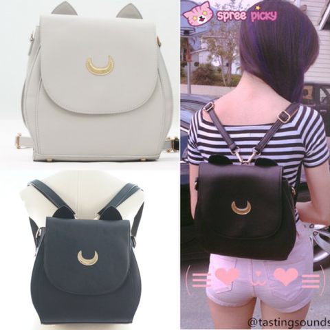 Grey/Black Sailor Moon Luna Mini 3 ways Backpack Bag SP152999