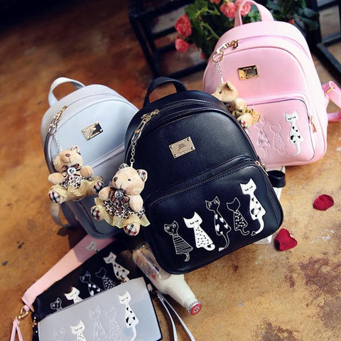 Grey/Black/Pink Fox Embroidery Backpack SP178828